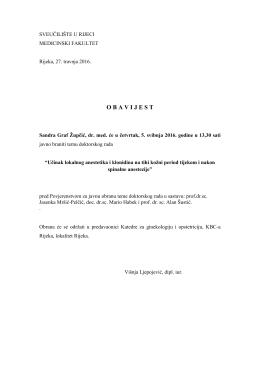 Obavijest o obrani teme doktorskog rada Sandre Graf Župčić, dr. med