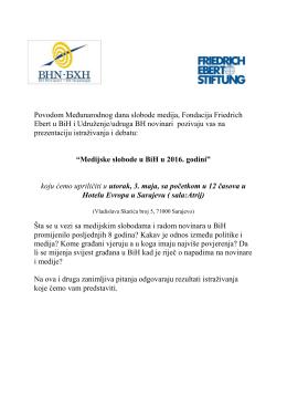 Povodom Međunarodnog dana slobode medija, Fondacija Friedrich