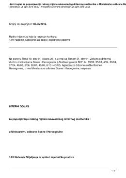 Javni konkurs za popunjavnje radnog mjesta u Ministarstvu odbrane