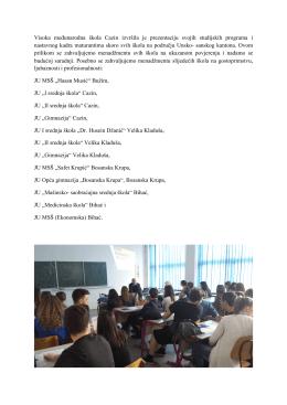 Visoka međunarodna škola Cazin izvršila je prezentaciju svojih