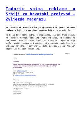 Todorić snima reklame u Srbiji za hrvatski proizvod