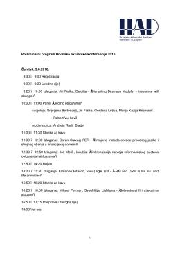 Preliminarni program Hrvatske aktuarske konferencije 2016. Četvtak