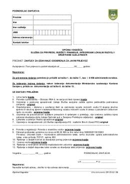 Zahtjev za izdavanje odobrenja za javni prijevoz