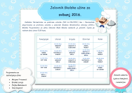 Jelovnik skolske uzine za svibanj 2016