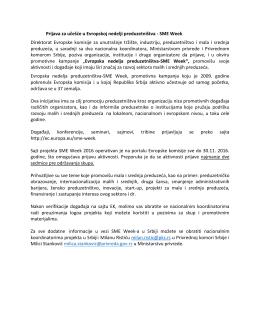 Prijava za učešće u Evropskoj nedelji preduzetništva