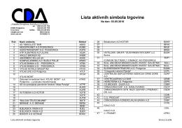Lista aktivnih simbola trgovine - Centralna Depozitarna Agencija