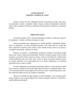 """ETIČKI PRINCIPI ČASOPISA """"ISTORIJA 20. VEKA"""""""