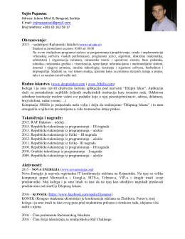 Vojin Pupavac Obrazovanje: Takmičenja i nagrade: Aktivnosti: