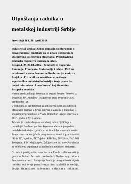 Otpuštanja radnika u metalskoj industriji Srbije