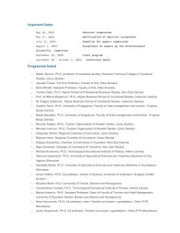 Vazni datumi, Programski i Organizacioni odbor – TEMPUS 2015