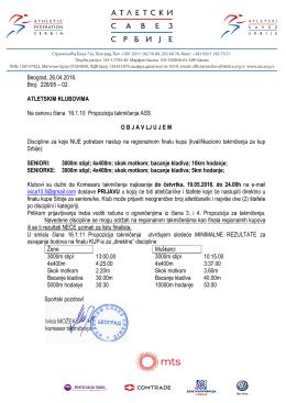 Beograd, 26.04.2016. Broj: 228/05 – 02. ATLETSKIM KLUBOVIMA