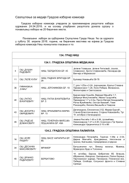 Саопштење са списком бирачких места