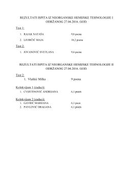 Резултати испита из Неорганске хемијске технологије 1 и 2