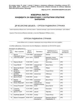 Изборна листа Др ВОЈИСЛАВ ШЕШЕЉ