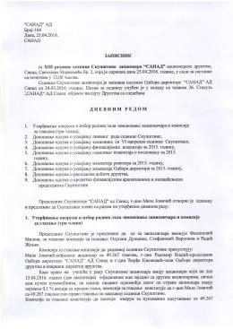 Zapisnik sa XIII redovne sednice Skupštine akcionara