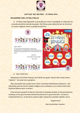 22 Nisan 2016 - Özel Bilkent İlk ve Ortaokulu