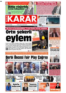 29 Nisan 2016 - Çorum - Kesin Karar Gazetesi