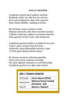 ŞİİR / TÜRKİYE İKİNCİSİ