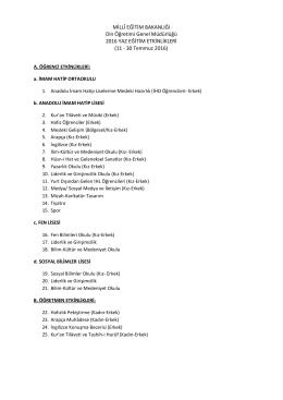 11 - 30 Temmuz 2016 - kilis il millî eğitim müdürlüğü