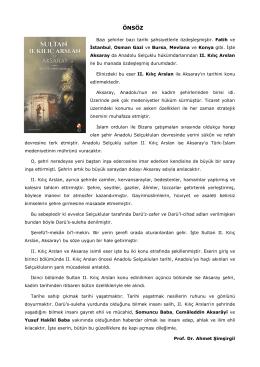 önsöz - Prof. Dr. AHMET ŞİMŞİRGİL