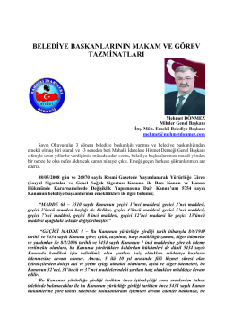 belediye başkanlarının makam ve görev tazminatları