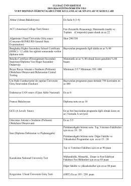 Üniversitemizce Kabul Edilen Ulusal ve Uluslararası Sınav Türleri