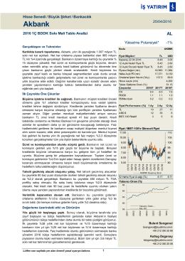 25/04/2016 - İş Yatırım