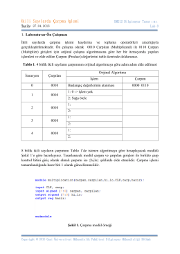 İkili Sayılarda Çarpma İşlemi - Bilgisayar Mühendisliği Bölümü