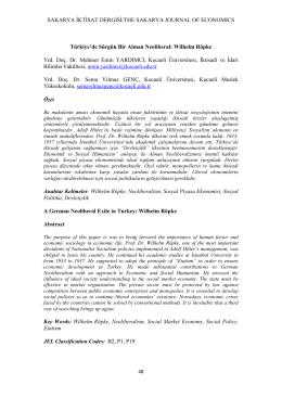 WİLHELM RÖPKE (Yrd. Doç. Dr. Mehmet Emin YARDIMCI/Yrd. Doç