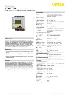 Data sheet - VEGAMET 624 - Seviye sensörleri için değerlendirme