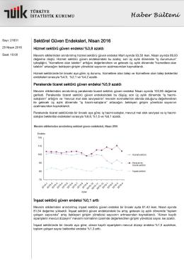 Sektörel Güven Endeksleri-(Nisan 2016