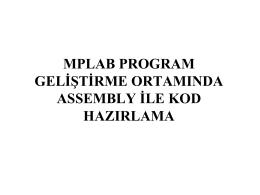 MPLAB Projesinin Oluşturulması