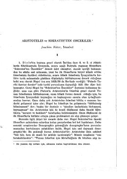 ARİSTOTELES ve SOKRATES`TEN ÖNCEKİLER 1 Joachim Ritter