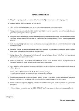 Ders Kaydı İşlemleri - SMMM Öğr.Gör. Mehmet KÖRPİ