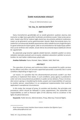 idare hukukunda vekalet - Türkiye Adalet Akademisi