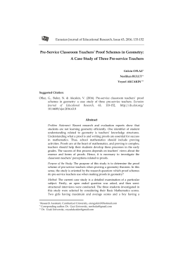Pre-Service Classroom Teachers` Proof Schemes in Geometry
