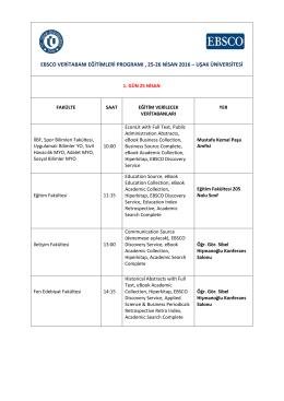 ebsco veritabanı eğitimleri programı , 25