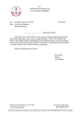 Bu evrak güvenli elektronik imza ile imzalanmıştır. http://evraksorgu