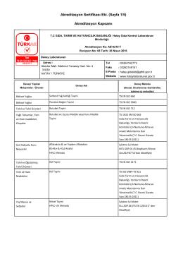 Akreditasyon Sertifikası Eki. (Sayfa 1/5) Akreditasyon Kapsamı