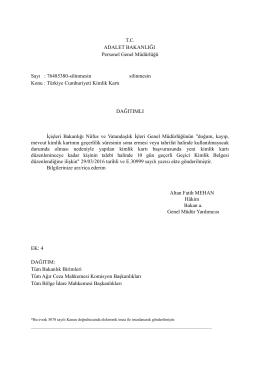 Adalet Bakanlığı Personel Genel Müdürlüğü Geçici Kimlik