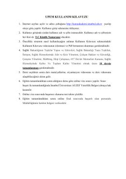 upem kullanım kılavuzu - İstanbul Sağlık Müdürlüğü