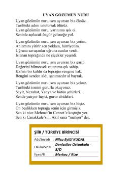 ŞİİR / TÜRKİYE BİRİNCİSİ