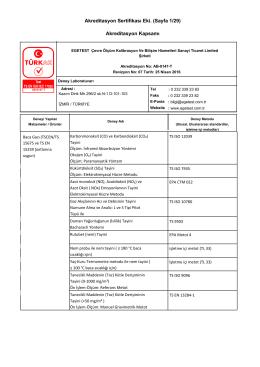 Akreditasyon Sertifikası Eki. (Sayfa 1/29) Akreditasyon Kapsamı