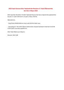 6552 Sayılı Kanuna Göre Yapılandırılan Borçların 9. Taksit