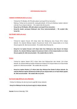 GÖSTERGELERLE MALEZYA YABANCI YATIRIMLAR (2015 yılı sonu)
