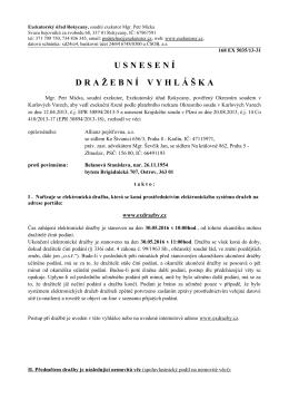 Usnesení o vydání dražební vyhlášky (elektronická dražba)