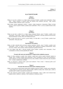 slavnostní sliby - České vysoké učení technické v Praze
