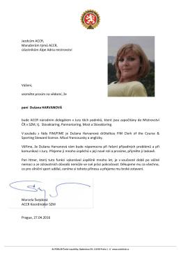 Dušana Harvanová ACCR Delegát v Jury AA mistrovství
