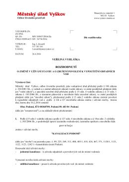 Veřejná vyhláška - Rozhodnutí o změně užívání stavby a o