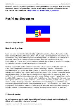 Rusíni na Slovensku - Hospodářská a kulturní studia